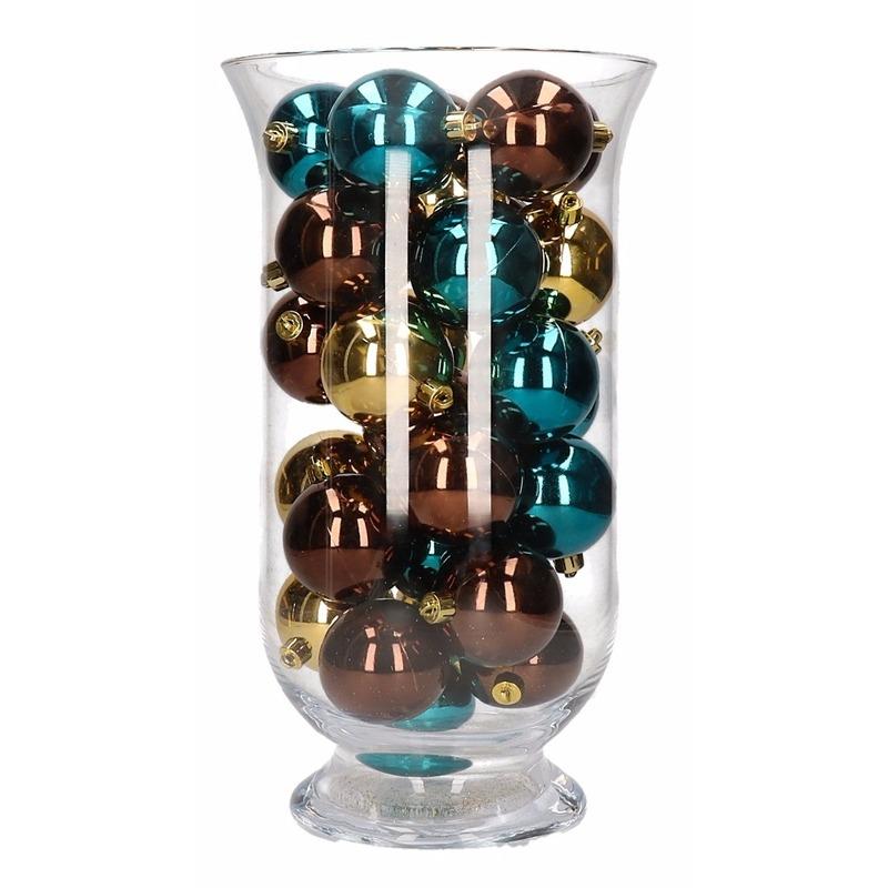Woondecoratie bruin/gouden kerstballen in vaas