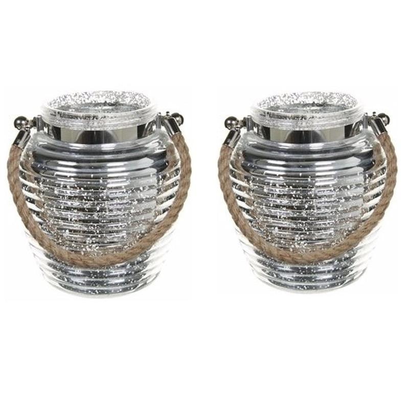 Woondecoratie vensterbank lantaarns zilver 2 stuks