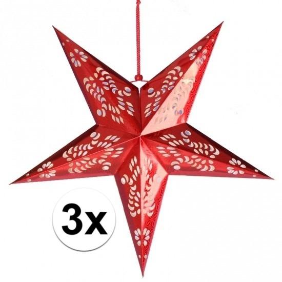 3x stuks decoratie sterren lampionnen rood van 60 cm