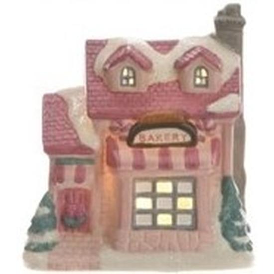 Bakkerij kerstdorp huisje 10 cm met LED verlichting
