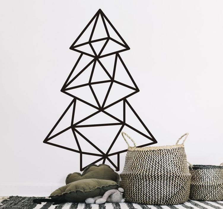 Bedrijfssticker geometrische kerstboom