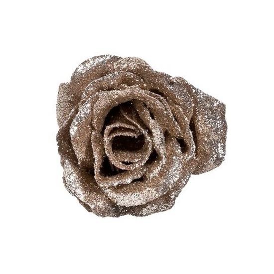 Champagne roos met glitters op clip 7 cm – kerstversiering