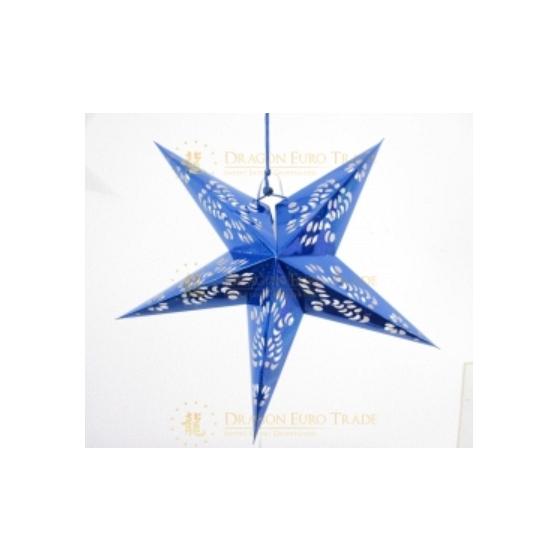 Decoratie ster lampion blauw 60 cm
