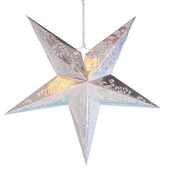 Decoratie ster lampionnen zilver van 60 cm
