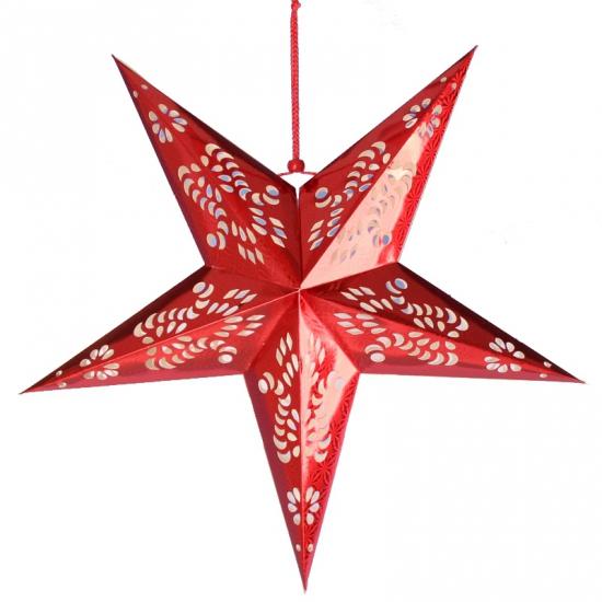 Decoratie sterren lampionnen rood van 60 cm