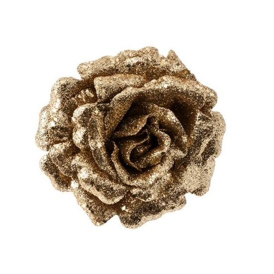 Gouden roos met glitters op clip 12 cm – kerstversiering
