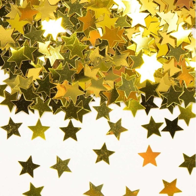 Gouden sterren confetti zakjes van 14 gram