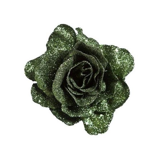 Groene roos met glitters op clip 10 cm – kerstversiering