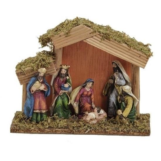 Kerststal met 6 figuren 20 cm