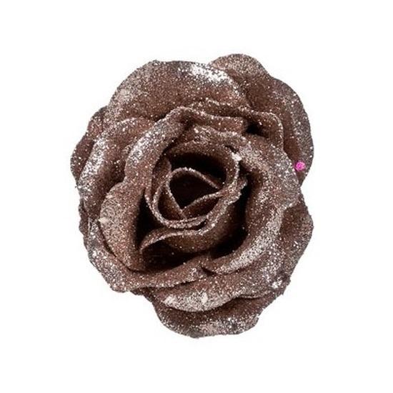 Oud roze roos met glitters op clip 7 cm – kerstversiering