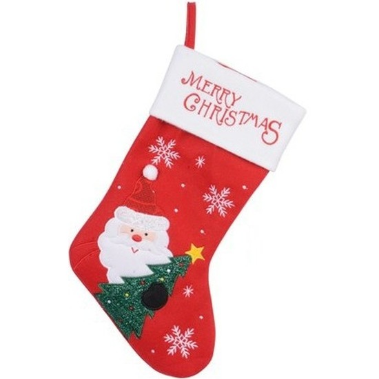 Rood/witte kerstsok kerstversiering met Kerstman borduursel 40 c
