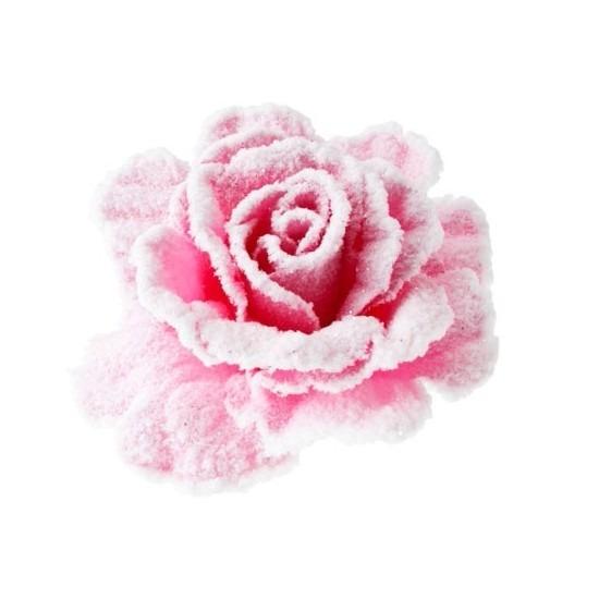 Roze roos met sneeuw op clip 10 cm – kerstversiering
