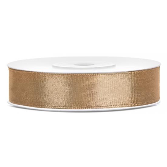Satijn sierlint rol goud van 25 meter x 12 mm