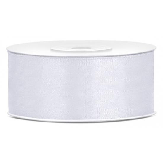 Satijn sierlint wit rol 25 meter x 25 mm