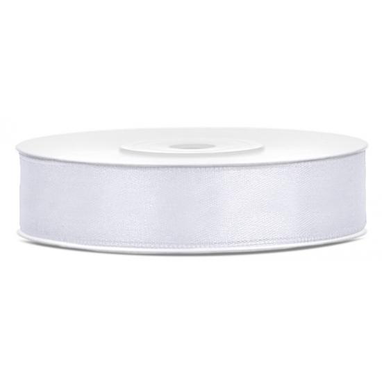 Satijn sierlint wit rol van 25 meter x 12 mm