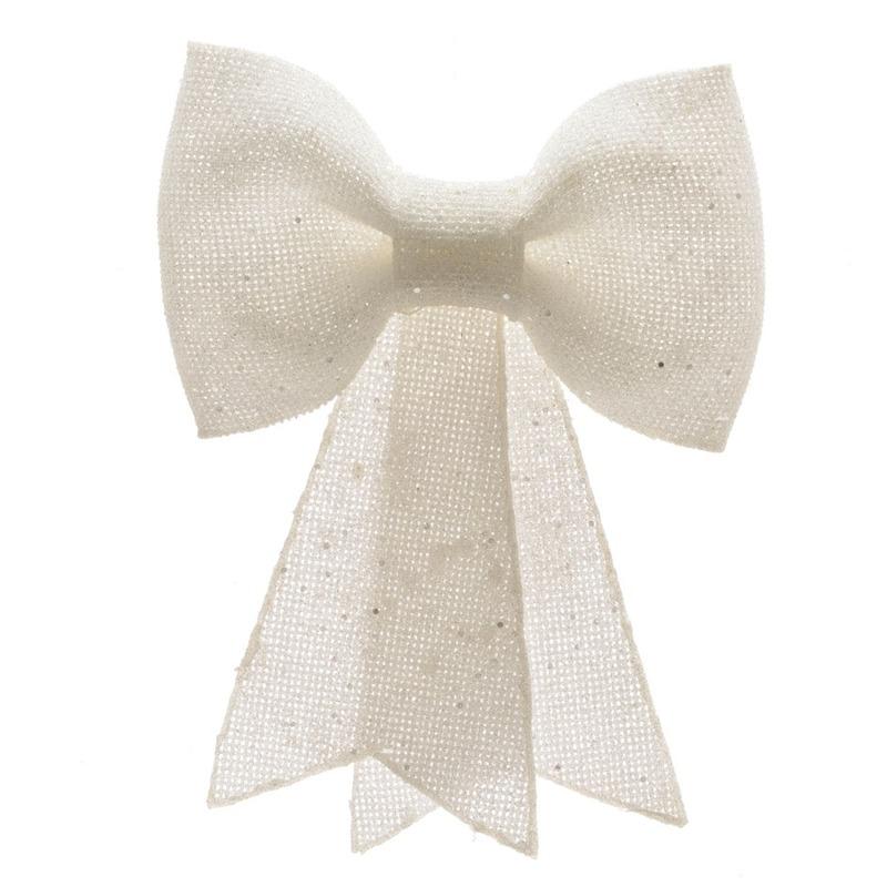 Witte hangende strik van 12 x 14 cm