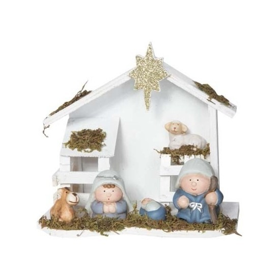 Witte kerststal van hout 20 cm