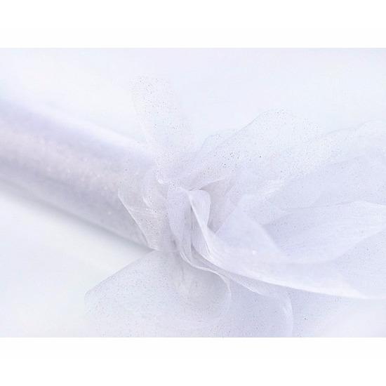 Witte organza stof met glitters 36 cm breed