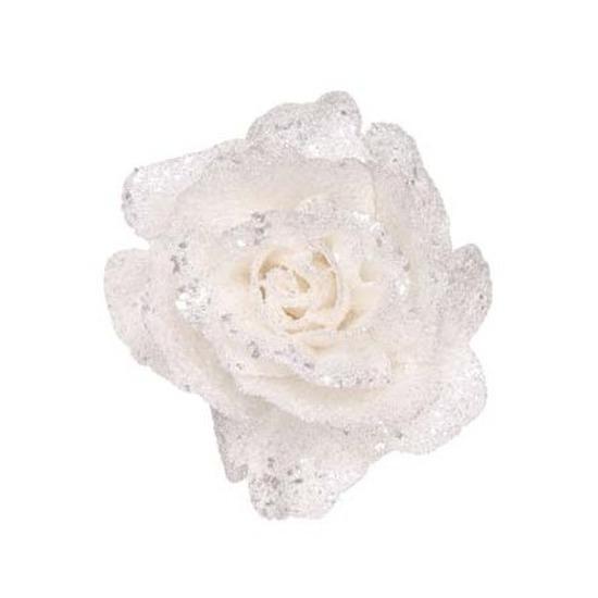 Witte roos met glitters op clip 10 cm – kerstversiering