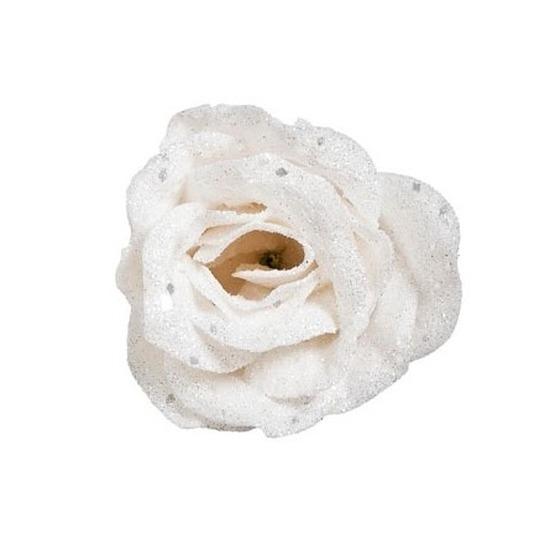 Witte roos met glitters op clip 7 cm – kerstversiering