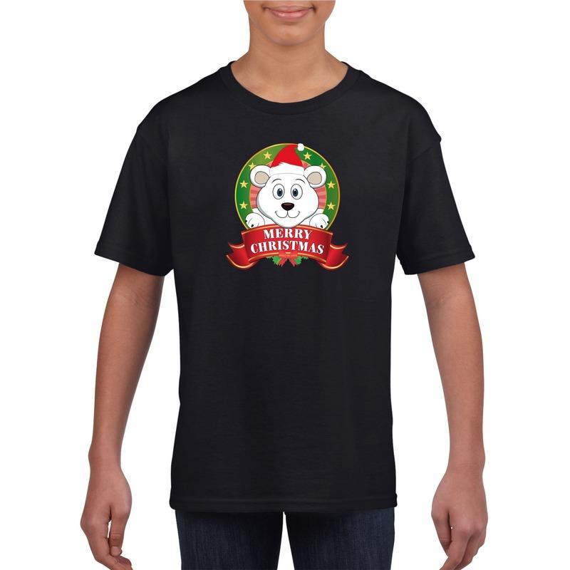 Zwart Kerst t-shirt voor kinderen met een ijsbeer
