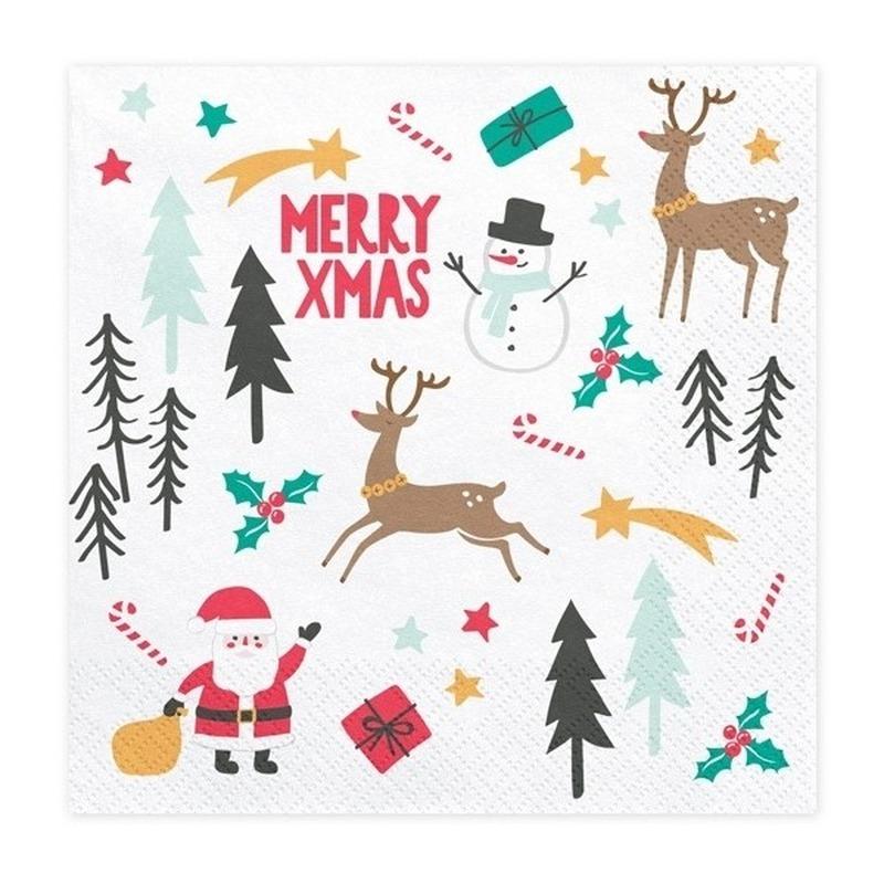 20x Merry X-Mas Kerst servetten 33 cm