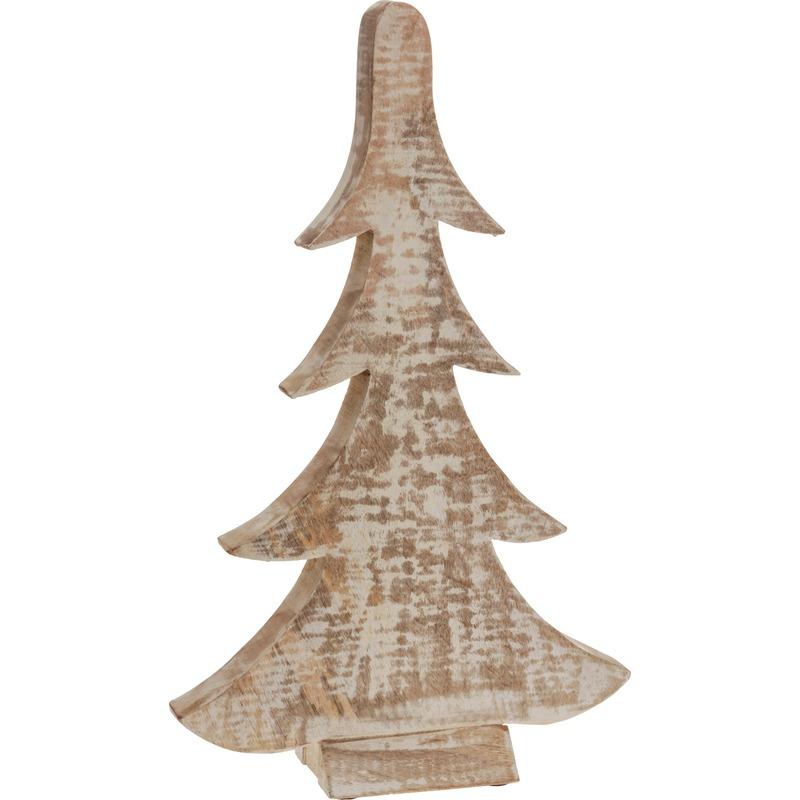 Bruin/witte houten kerstboom 42 cm