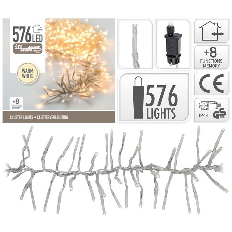 Clusterverlichting warm wit buiten 576 lampjes