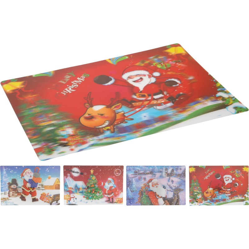 Kerst 3D placemat met kerstman en cadeautjes 42 x 28 cm
