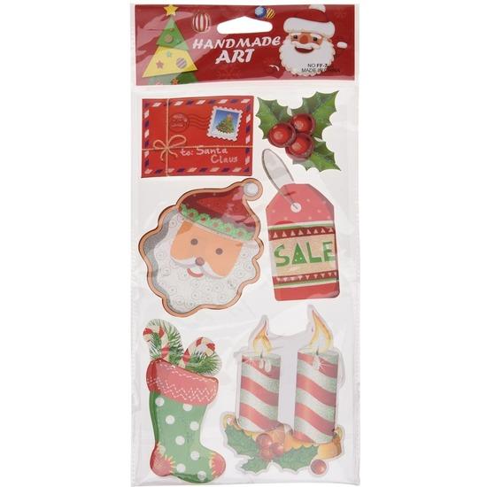 Kerst decoratie 3D raamstickers type 2 20 x 45 cm