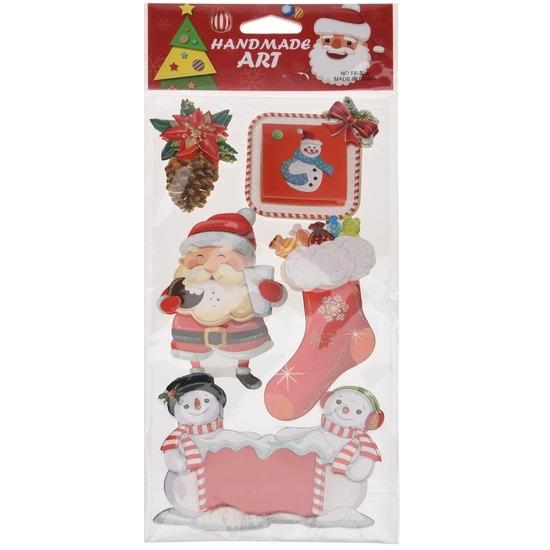 Kerst decoratie 3D raamstickers type 4 20 x 45 cm