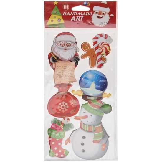Kerst decoratie 3D raamstickers type 5 20 x 45 cm