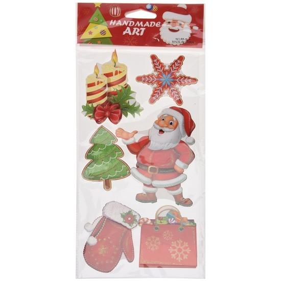 Kerst decoratie 3D raamstickers type 6 20 x 45 cm
