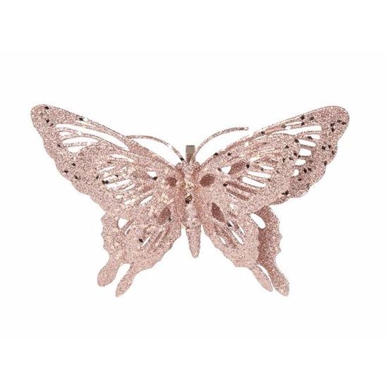 Kerst decoratie vlinder roze 15 x 11 cm