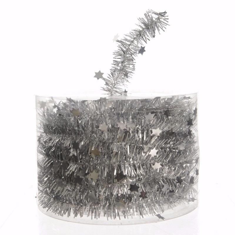 Kerst zilveren sterren folieslinger Mystic Christmas 700 cm