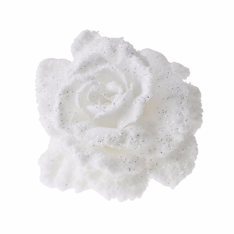 Kerstboom decoratie bloem roos wit 10 cm