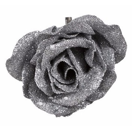 Kerstboom decoratie roos op clip zilver/glitter 9 cm