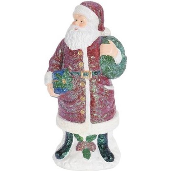 Kerstman beeldje met cadeautjes 27 cm