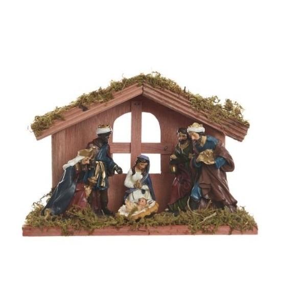 Kerststal open raam met 6 figuren 20 cm