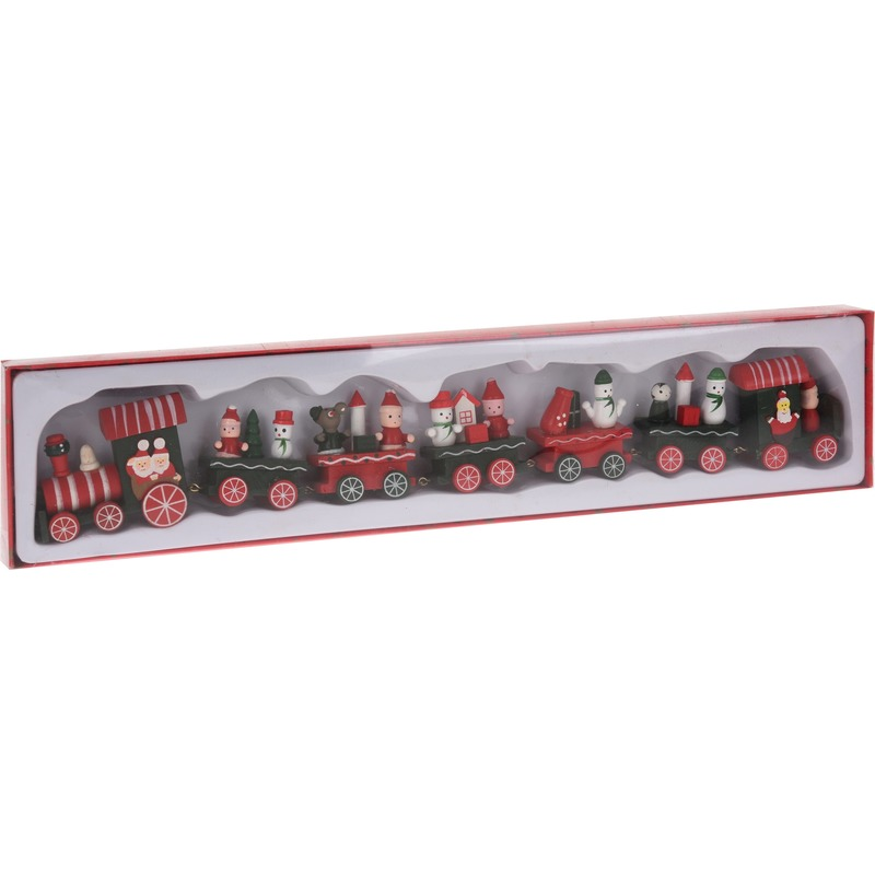 Kersttrein met wagonnetjes van hout 41 cm