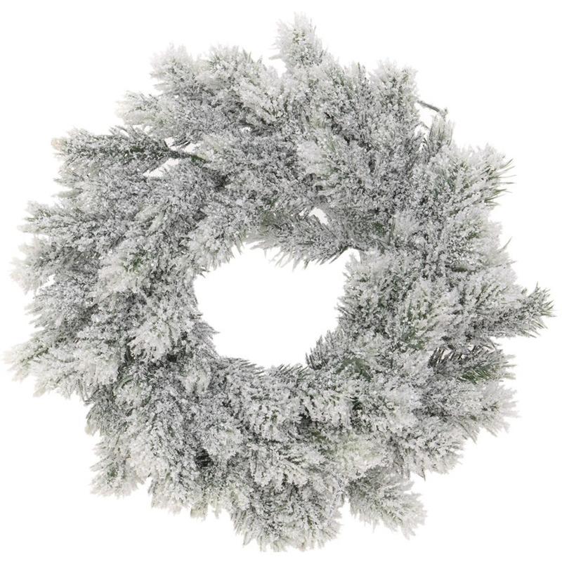 Kunst kerstkrans groen/sneeuw 35 cm