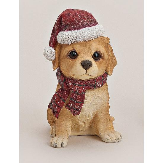 Labrador beeldje met kerstmuts