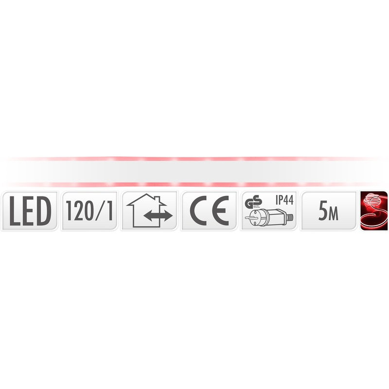 Lichtslang LED strip rood buiten 5 meter