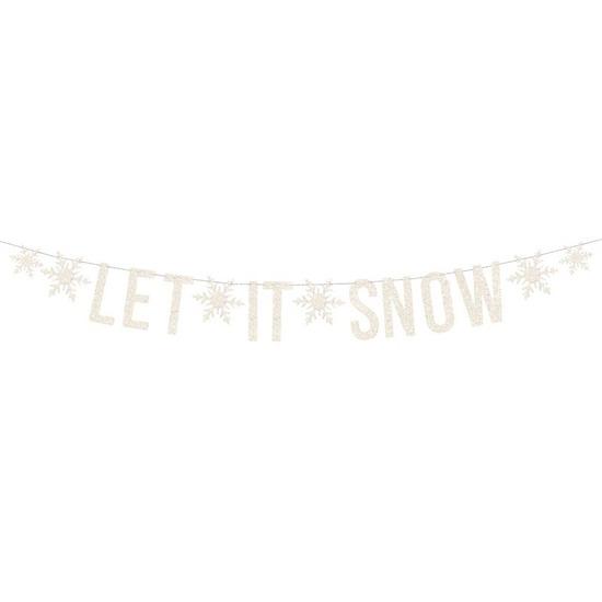 Witte Let it snow DIY Kerst banner slinger 20 x 175 cm