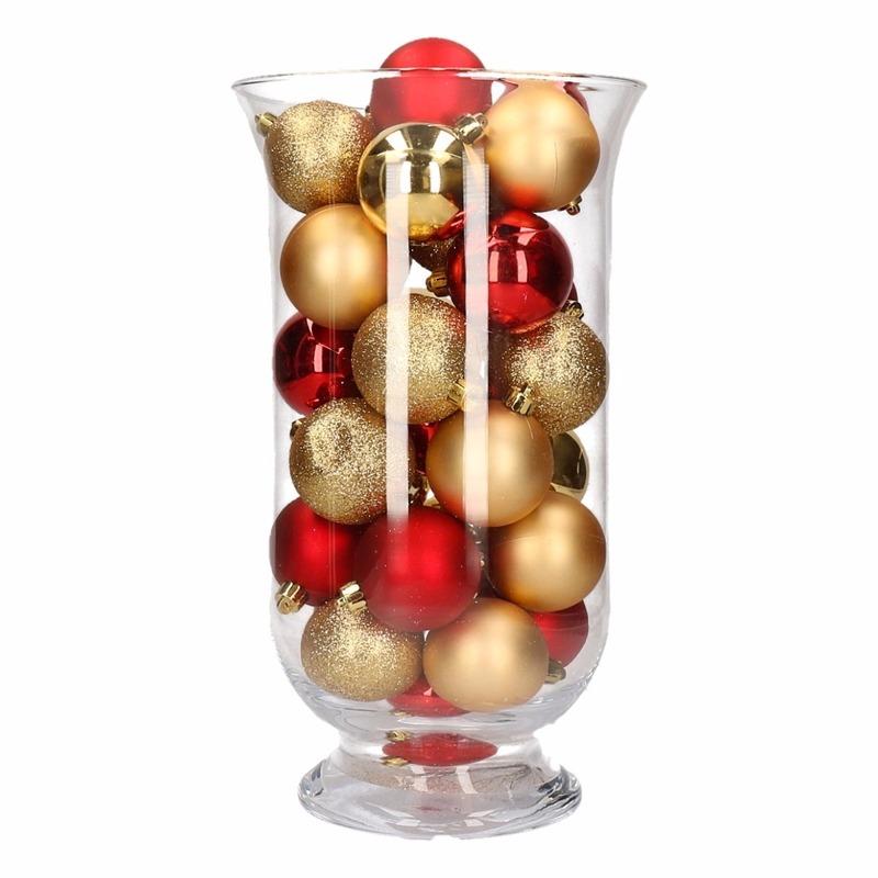 Woondecoratie goud/rode kerstballen in vaas