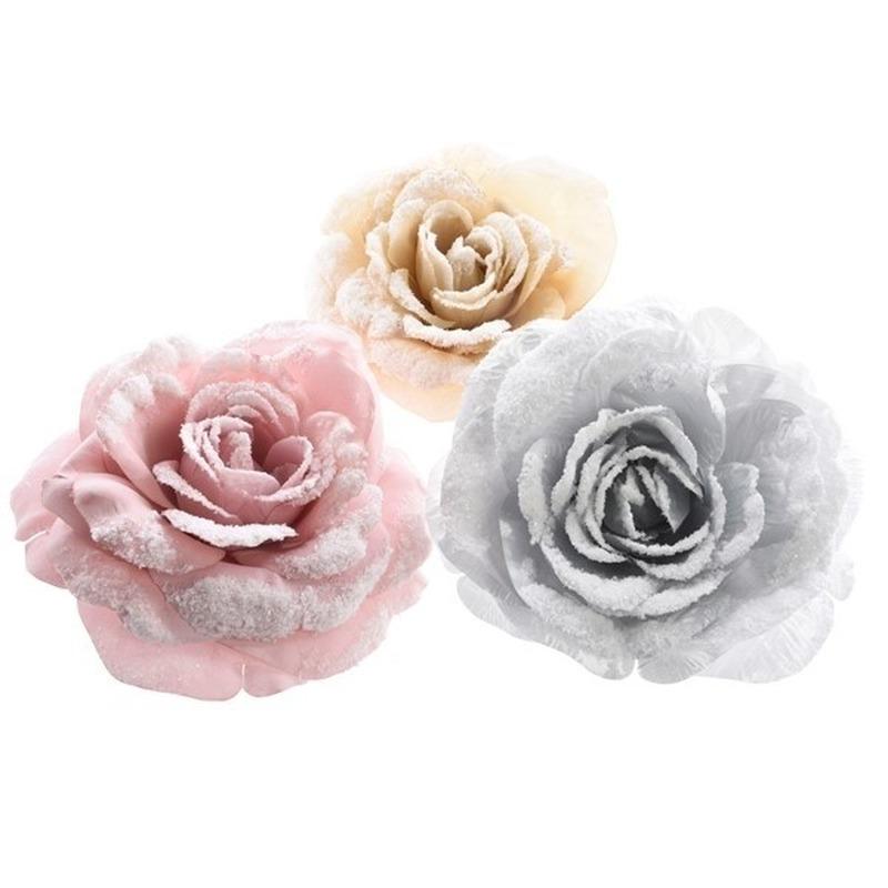 Zilveren roos kerstversiering clip decoratie 12 cm