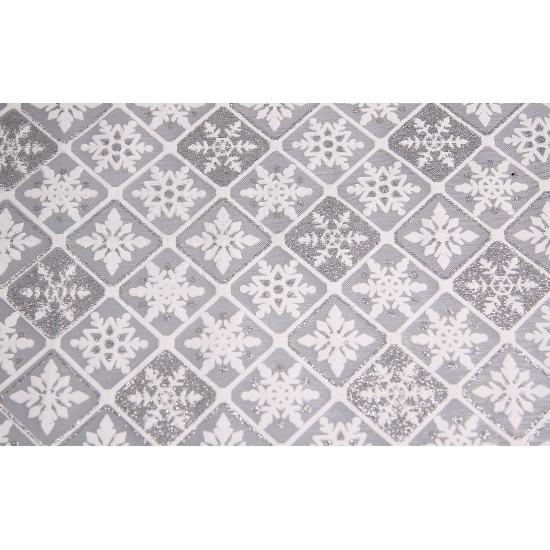 Zilveren tafelloper ruit met glitters 30 x 270 cm
