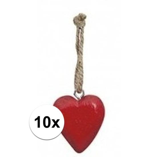 10x Rood hartje aan touwtje 5 cm