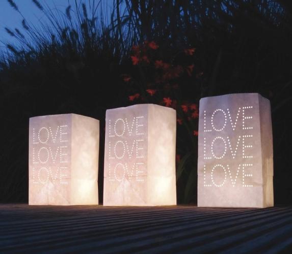 10x stuks Candle Bags set LOVE thema 26 cm