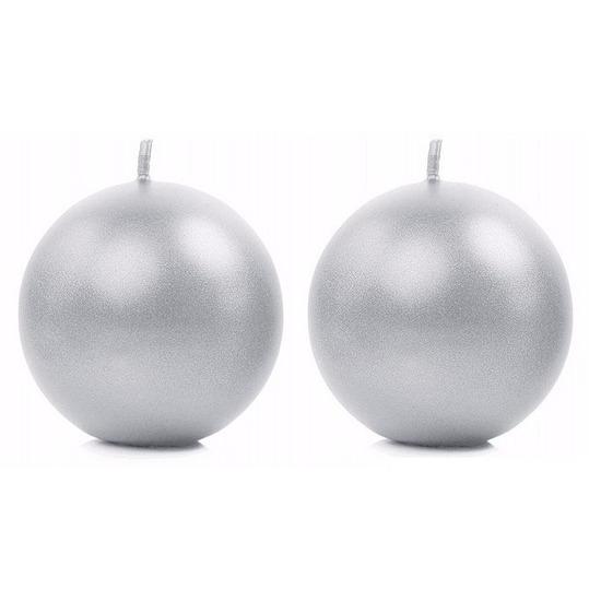 2x Bolkaarsen zilver 8 cm